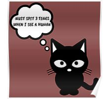 black cat kitty superstition animal pet cute for girls girly Poster