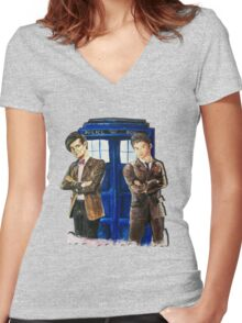 Doctor Who - Ten, Eleven and the Tardis Women's Fitted V-Neck T-Shirt