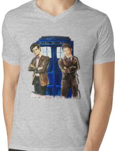 Doctor Who - Ten, Eleven and the Tardis Mens V-Neck T-Shirt