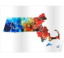 Massachusetts - Map Counties By Sharon Cummings Poster