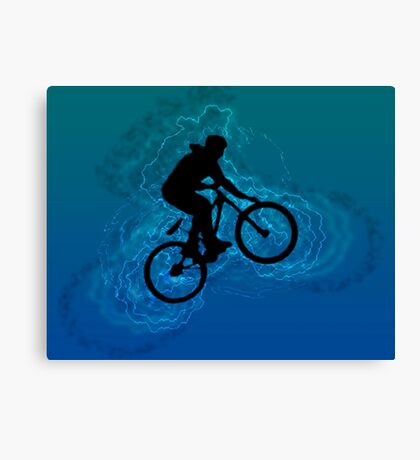 Digitally enhanced image of a bicycle stunt  Canvas Print