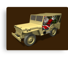 Santa Claus In Willys Jeep Canvas Print