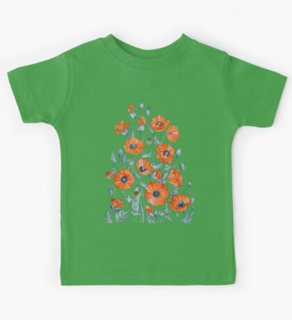 Poppies floral light grey Kids Tee