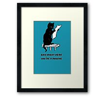 black cat reading kitty illustration animal pet cute for girls girly Framed Print