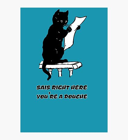 black cat reading kitty illustration animal pet cute for girls girly Photographic Print