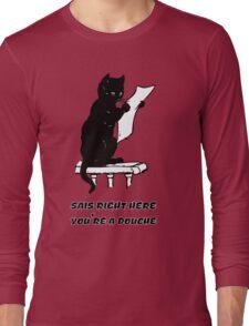 black cat reading kitty illustration animal pet cute for girls girly Long Sleeve T-Shirt