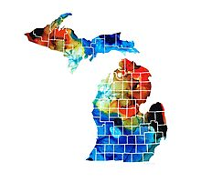 Michigan State Map - Counties By Sharon Cummings Photographic Print