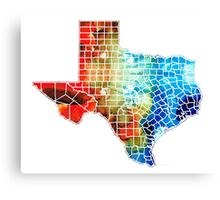 Texas Map - Counties By Sharon Cummings Canvas Print