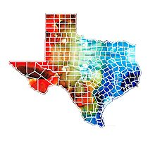 Texas Map - Counties By Sharon Cummings Photographic Print