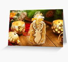 Christmas gingerbread cookie with deer Greeting Card