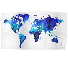 World Map 17 - Blue Art By Sharon Cummings Poster