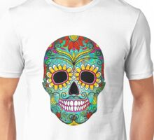 Colorful Floral Sugar Skull Unisex T-Shirt