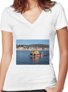 Neptune Returning To Lyme Regis Harbour Women's Fitted V-Neck T-Shirt