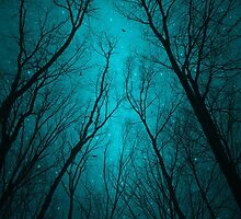 Endure the Darkness (Night Trees Silhouette Abstract 2) by soaringanchor