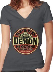 Mini speed Demon Women's Fitted V-Neck T-Shirt