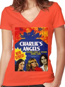 Vintage Charlie's Angels Topps Trading Cards Box Women's Fitted V-Neck T-Shirt
