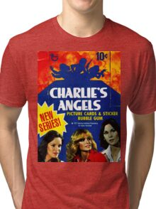 Vintage Charlie's Angels Topps Trading Cards Box Tri-blend T-Shirt