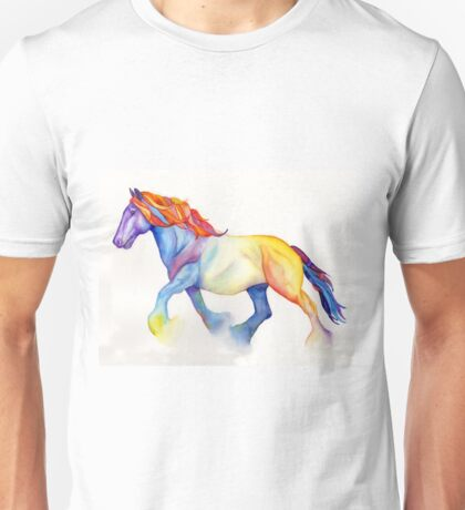 Watercolor Horse, Shire Stallion in Rainbow Unisex T-Shirt