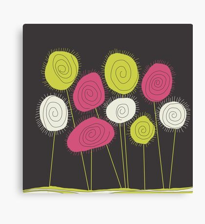 flowers on grey Canvas Print