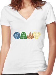 Water, Earth, Fire, Air Women's Fitted V-Neck T-Shirt