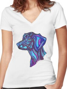 Cosmic Dog Women's Fitted V-Neck T-Shirt