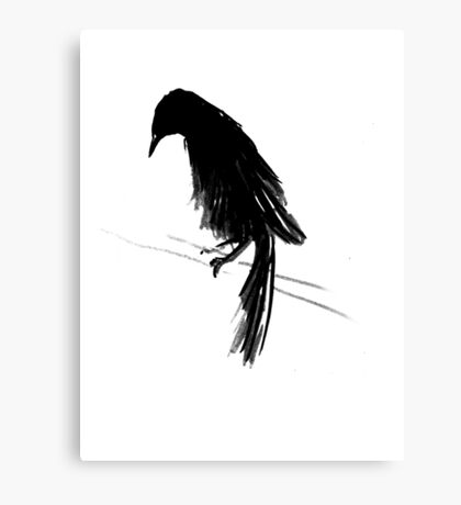 Crow Against The Wind II Canvas Print