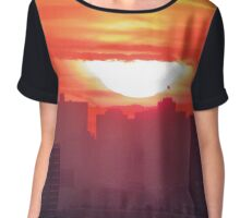 Sunset over New York City  Chiffon Top