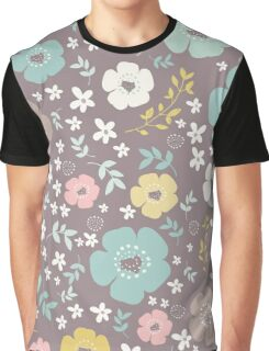 Colorful Christmas Pattern Brown Background Graphic T-Shirt