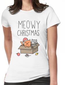 Meowy Christmas Cat Holiday Pun Womens Fitted T-Shirt