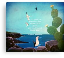 Friendship Inspirational Quote With Nature Painting   Canvas Print