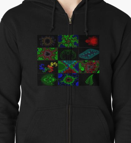 Twelve Fractal Images with Borders (Limited Palette)  Zipped Hoodie