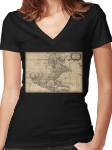 Map of North America, 1650 Women's Fitted V-Neck T-Shirt