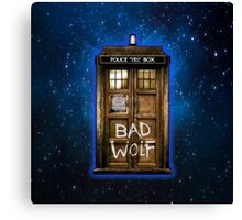 Old Rustic wood Phone box with Bad Wolf typograph Canvas Print