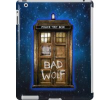 Old Rustic wood Phone box with Bad Wolf typograph iPad Case/Skin
