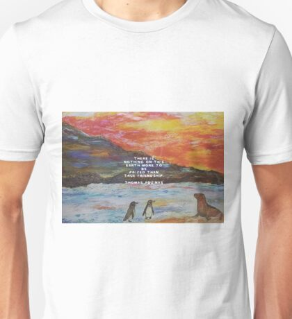 True Friendship Motivational Quote With Penguin Painting  Unisex T-Shirt