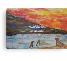 True Friendship Motivational Quote With Penguin Painting  Canvas Print