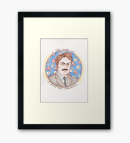 Ron Swanson from Parks and Recreation Framed Print