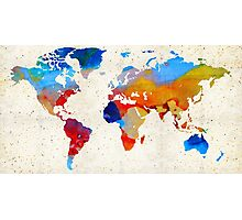 World Map 18 - Colorful Art By Sharon Cummings Photographic Print