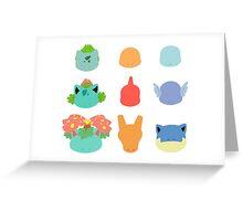 Kanto Starters Greeting Card