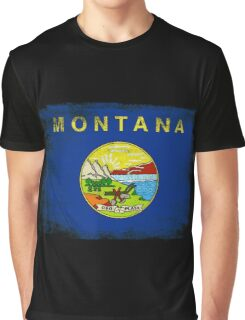 Montana State Flag Distressed Vintage  Graphic T-Shirt