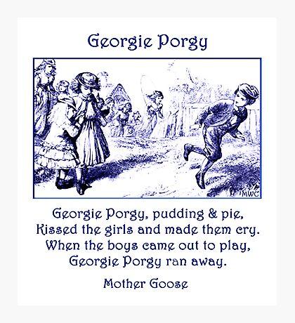 Georgie Porgy Mother Goose Illustrated Nursery Rhyme Photographic Print