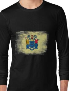 New Jersey State Flag Distressed Vintage Long Sleeve T-Shirt