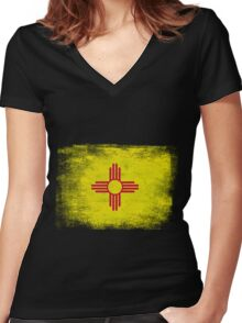 New Mexico State Flag Distressed Vintage Women's Fitted V-Neck T-Shirt