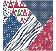 Abstract pattern .   Textile patchwork patchwork .  Photographic Print