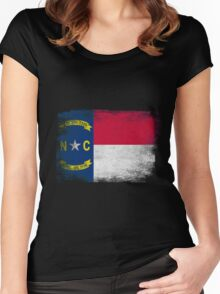 North Carolina State Flag Distressed Vintage  Women's Fitted Scoop T-Shirt