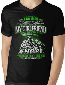 Caution My Girlfriend Will Always Be My Beautiful Angel T-Shirt Mens V-Neck T-Shirt