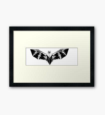 Black and White bat Framed Print