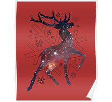 Winter wonderland space reindeer Poster