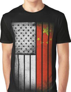 Chinese American Flag - Half Chinese Half American Graphic T-Shirt