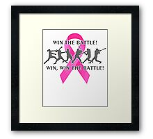 Win the Battle Softball Breast Cancer Support Ribbon Framed Print